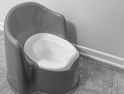 black and white potty
