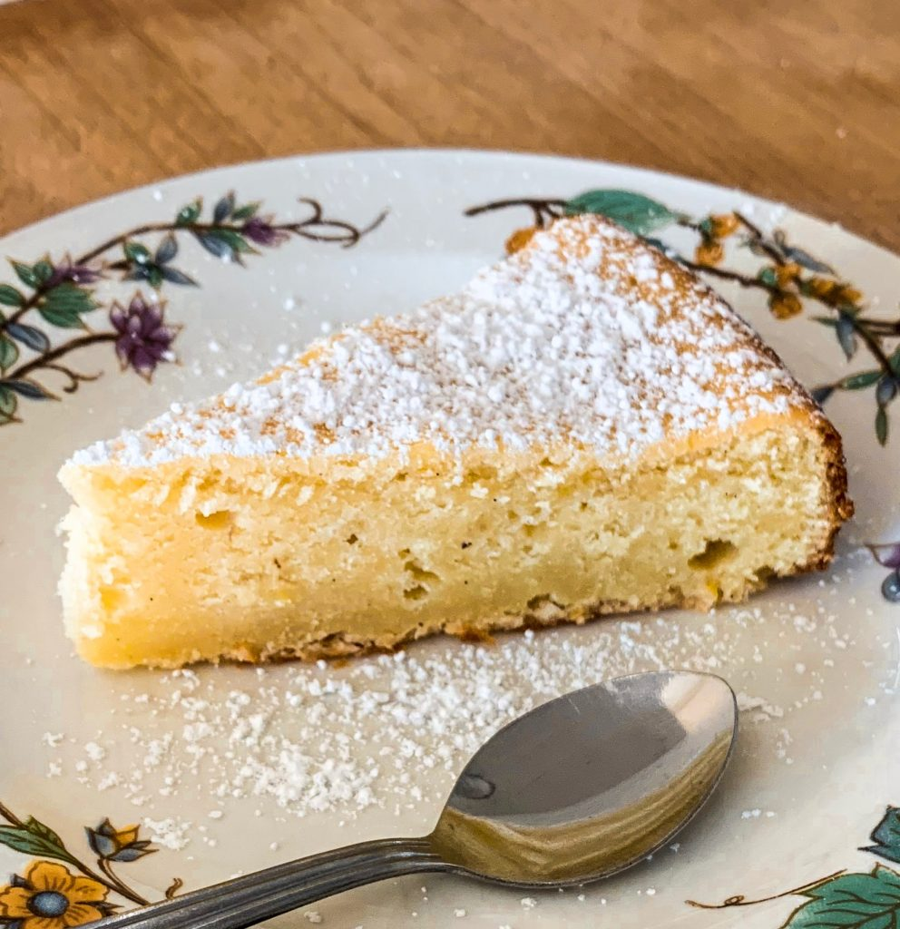 Piece of lemon ricotta cheesecake